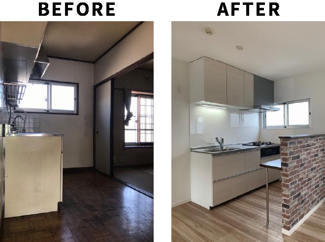 キッチンとリビングの一体化